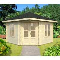 Palmako Melanie 3.5m x 3.5m Corner Log Cabin Summerhouse (44mm)