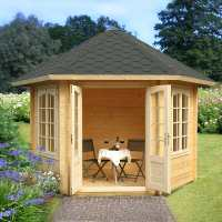Palmako Hanna 3m x 3.4m Corner Log Cabin Summerhouse (34mm)