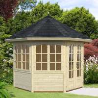 3.1x2.9m (9'x9') Palmako Veronica 28mm Log Cabin - 4 Windows