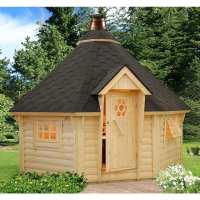 3.3x3.3m (11'x11') Palmako Eva 44mm Corner Log Cabin BBQ Hut - Barbecue Hut