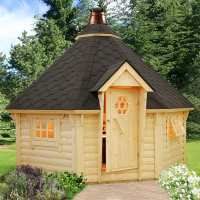 Palmako Eva 3.8m x 3.8m Corner Log Cabin BBQ Hut - Barbecue Hut (44mm)