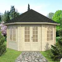 4.2x4.2m (14'x14') Palmako Hanna 44mm Corner Log Cabin - Summerhouse
