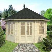 Palmako Hanna 4.2m x 4.2m Corner Log Cabin Summerhouse (44mm)