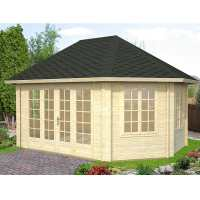 4.2x5.7m (14'x19') Palmako Hanna 44mm Corner Log Cabin - Summerhouse