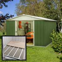 10ft x 10ft Yardmaster Green Metal Shed 1010GEYZ+ With Floor Support Kit (3.03 x 2.98m)
