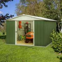 10ft x 10ft Yardmaster Green Metal Shed 1010GEYZ (3.03m x 2.98m)