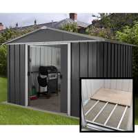 10ft x 8ft Yardmaster Castleton Anthracite Metal Shed with Floor Support Kit (3.03m x 2.37m)