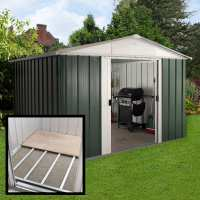 10ft x 8ft Yardmaster Green Metal Shed 108GEYZ+ With Floor Support Kit (3.03m x 2.37m)