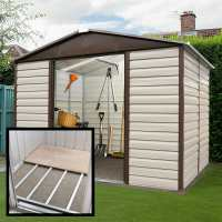 10ft x 8ft Yardmaster 108TBSL Shiplap Metal Shed + Floor Support Kit (3.03m x 2.37m)