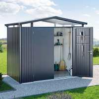 8ft x 4ft Biohort Panorama P1 Dark Grey Metal Double Door Shed (2.52m x 1.32m)