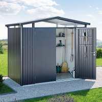 8ft x 7ft Biohort Panorama P3 Dark Grey Metal Double Door Shed (2.52m x 2.12m)