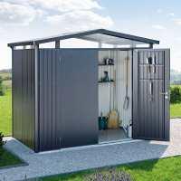 8ft x 8ft Biohort Panorama P4 Dark Grey Metal Double Door Shed (2.52m x 2.52m)