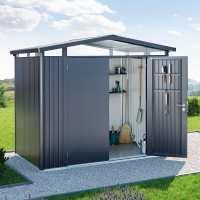 8ft x 9ft Biohort Panorama P5 Dark Grey Metal Double Door Shed (2.52m x 2.92m)
