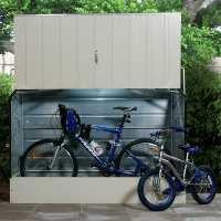 6ft4 x 2ft9 Trimetals Ramped Metal Bike Shed - Cream (1.95m x 0.88m)