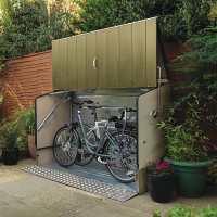 6ft4 x 2ft9 Trimetals Ramped Metal Bike Shed - Green (1.95m x 0.88m)