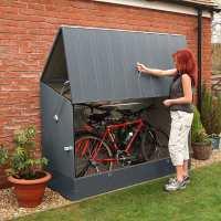 6ft4 x 2ft9 Trimetals Ramped Metal Bike Shed - Anthracite (1.95m x 0.88m)