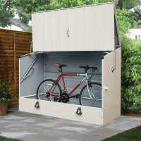 6ft4 x 2ft9 Trimetals Protect.a.Cycle Metal Bike Shed with Ramp - Cream (1.95m x 0.88m)