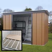 6ft x 4ft Yardmaster Tall Woodview Pent Metal Shed With Floor Support Kit (1.98m x 1.19m)