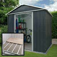6ft x 4ft Yardmaster Castleton Anthracite Metal Shed With Floor Support Kit (1.86m x 1.25m)