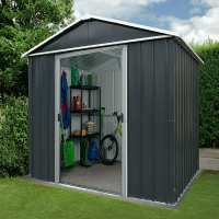6ft x 7ft Yardmaster Castleton Anthracite Metal Shed (2.02m x 2.17m)