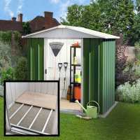 6ft x 7ft Yardmaster Green Metal Shed With Floor Support Kit (2.02m x 2.17m)