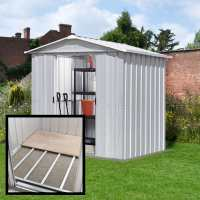 7ft10 x 6ft8 Yardmaster Silver Metal Shed 68ZGEY+ With Floor Support Kit (2.37m x 2.02m)