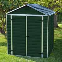 6ft x 5ft Palram Dark Green Skylight Plastic Shed (1.85m x 1.54m)