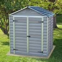 6ft x 5ft Palram Grey Skylight Plastic Shed (1.85m x 1.54m)