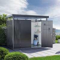 8ft x 5ft Biohort HighLine H2 Dark Grey Metal Double Door Shed (2.52m x 1.72m)