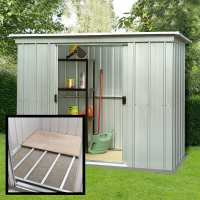 8ft x 4ft Yardmaster Pent Metal Shed 84PZ+ With Floor Support Kit (2.38m x 1.19m)