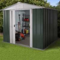 8ft x 6ft Yardmaster ftLimited Editionft Green Metal Shed (2.42m x 1.97m)