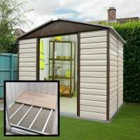 8ft x 6ft6 Yardmaster Shiplap Metal Shed 86TBSL+ With Floor Support Kit (2.43m x 1.97m)