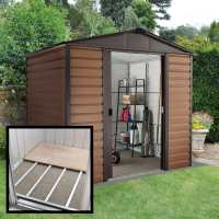 8ft x 6ft5 Yardmaster Glencoe Metal Shed 86WGL+ With Floor Support Kit (2.43m x 1.97m)
