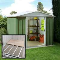 8ft x 7ft Yardmaster Green Metal Shed 87GEYZ+ With Floor Support Kit (2.42m x 2.17m)