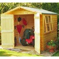 6ft9 x 6ft6 Shire Alderney Double Door Wooden Garden Shed (2.05m x 1.98m)
