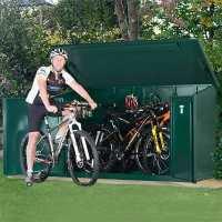 7ft5 x 3ft4 Asgard Access Plus Green Metal Bike Shed - 4 Bikes (2.3m x 1m)
