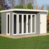 12x8 Shire Aster Contemporary Wooden Summer House With Side Shed