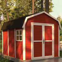 8ft x 11ft Rowlinson Dutch Barn Shed - Painted Swedish Red (2.4m x 3.4m)