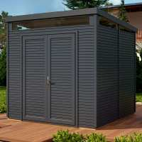 8ft x 8ft Rowlinson Anthracite Wooden Pent Security Shed (2.4m x 2.4m)