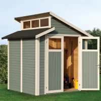 7ft x 7ft Rowlinson Skylight Light Grey Wooden Shed (2.1m x 2.2m)