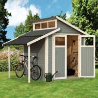 10ft x 7ft Rowlinson Skylight Light Grey Wooden Shed with Lean-To (3m x 2.2m)
