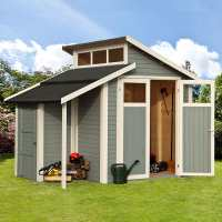 10ft x 7ft Rowlinson Skylight Light Grey Wooden Shed with Store (3m x 2.2m)