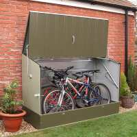 6ft x 3ft (1.96x0.89m) Trimetals Green Metal Bicycle Store - Garden Bike Storage