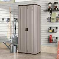 Suncast Tall Utility/ Garage Cabinet Grey - Plastic Storage Cupboard