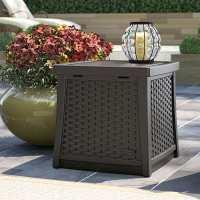 Suncast Plastic Deck Box & Garden Storage Side Table