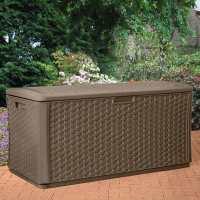 4ft x 2ft (1.46 x 0.73m) Suncast Resin Wicker Deck Box & Plastic Garden Storage