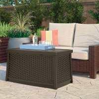 Suncast Elements Plastic Garden Coffee Table with Storage 3ft10x1ft8 (0.86x0.51m)