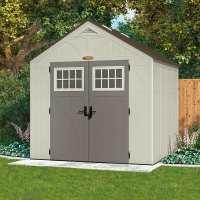 8ft x 7ft Suncast New Tremont Four Apex Roof Plastic Garden Storage Shed (2.43m x 2.17m)