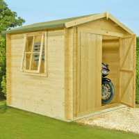 2.4x2.4m (8ftx8ft) Shire Bradley 19mm Double Door Log Cabin Shed