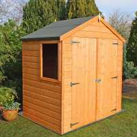 6ft5 x 4ft Shire Shiplap Double Door Wooden Garden Shed (1.96m x 1.23m)